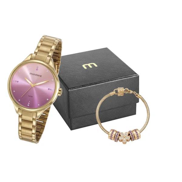 Relógio Feminino Mondaine Dourado 32101LPMKDE1K1e Pulseira c/ Berloque