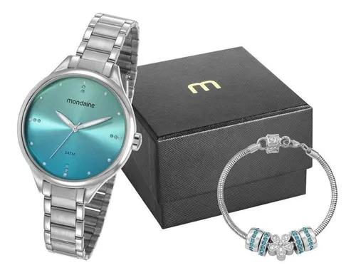 Relógio Feminino Mondaine Prateado 32101L0MKNE3K1 c/ Semijóia