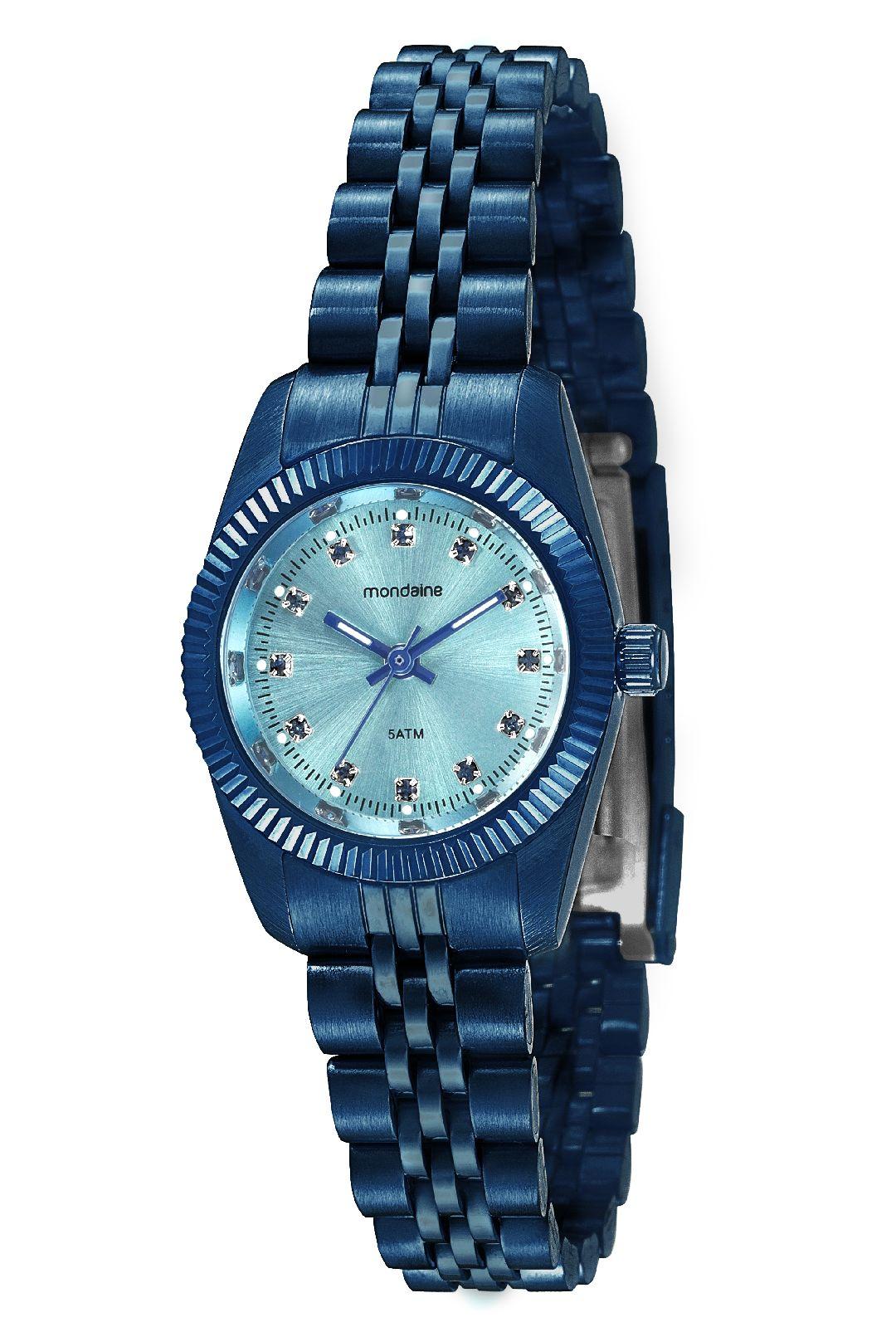 Relógio Feminino Mondaine Pulseira de Aço Inoxidável Azul Fundo Azul 99169LPMVES1