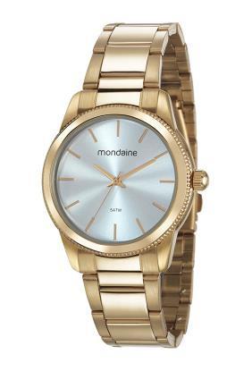 Relógio Feminino Mondaine Pulseira de Aço Inoxidável Dourado Fundo Azul 53676LPMVDE2