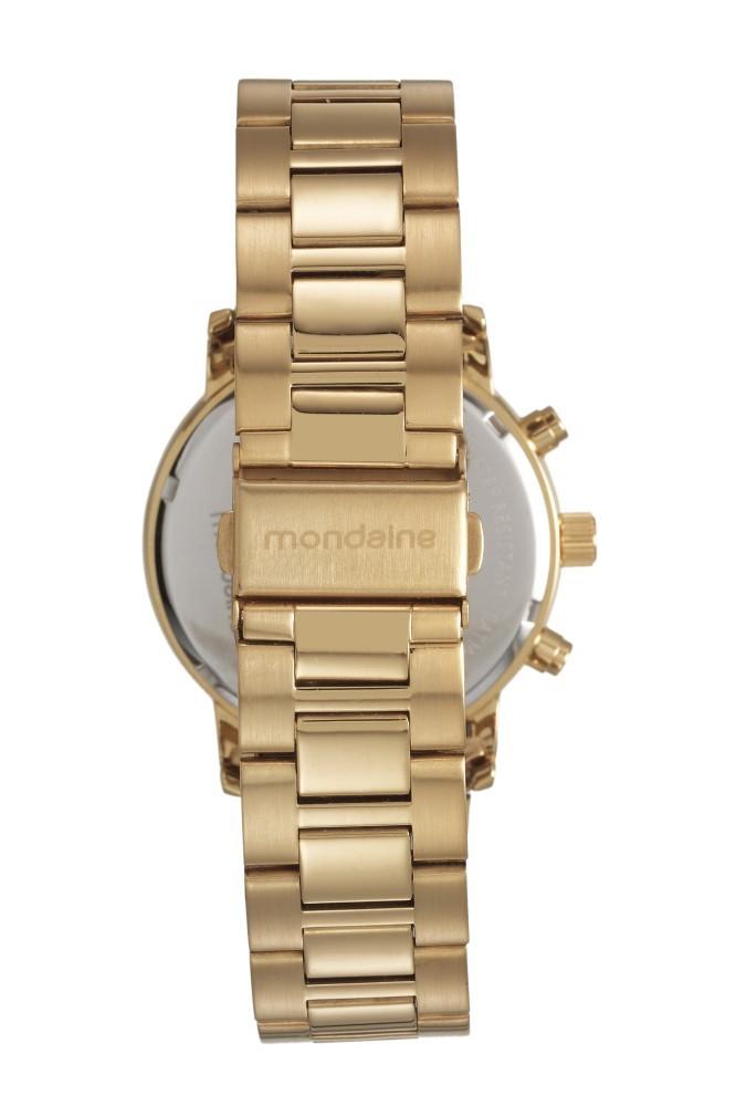 Relógio Feminino Mondaine Pulseira de Aço Inoxidável Dourado Fundo Azul 53708LPMVDS1