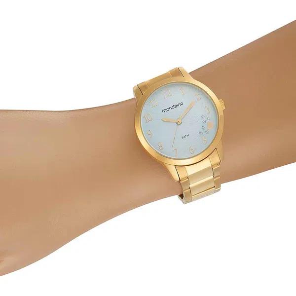 Relógio Feminino Mondaine Pulseira de Aço Inoxidável Dourado Fundo Azul