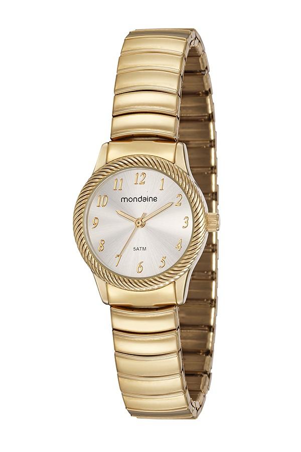 Relógio Feminino Mondaine Pulseira de Aço Inoxidável Dourado Fundo Bege