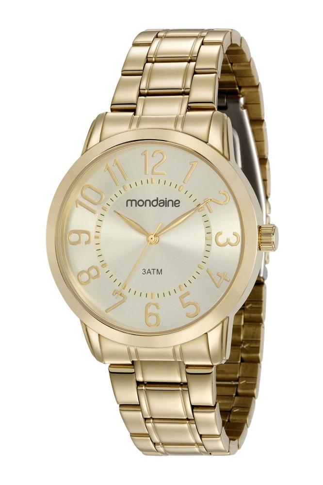 Relógio Feminino Mondaine Pulseira de Aço Inoxidável Dourado Fundo Champagne 83369LPMVDE1