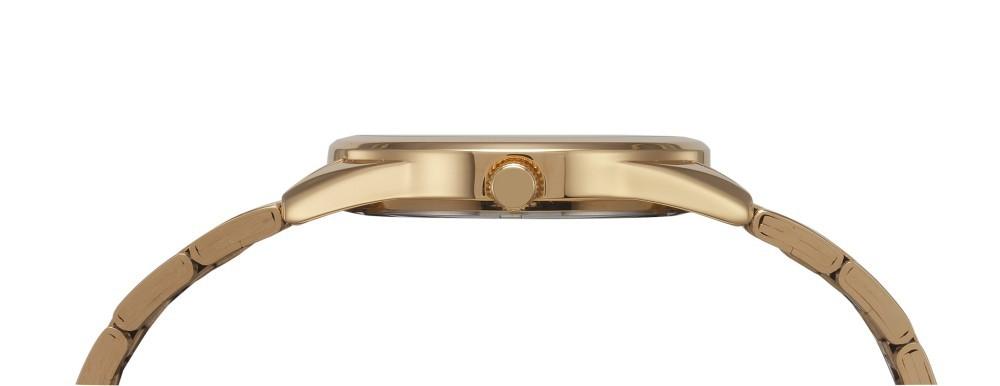 Relógio Feminino Mondaine Pulseira de Aço Inoxidável Dourado Fundo Champagne