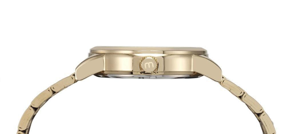 Relógio Feminino Mondaine Pulseira de Aço Inoxidável Dourado Fundo Champagne 99105LPMVDE1