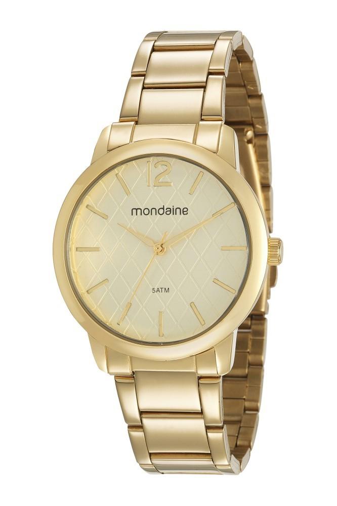 Relógio Feminino Mondaine Pulseira de Aço Inoxidável Dourado Fundo Champanhe 53607LPMVDE1