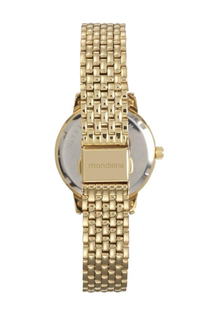 Relógio Feminino Mondaine Pulseira de Aço Inoxidável Dourado Fundo Champanhe 53615LPMVDE1