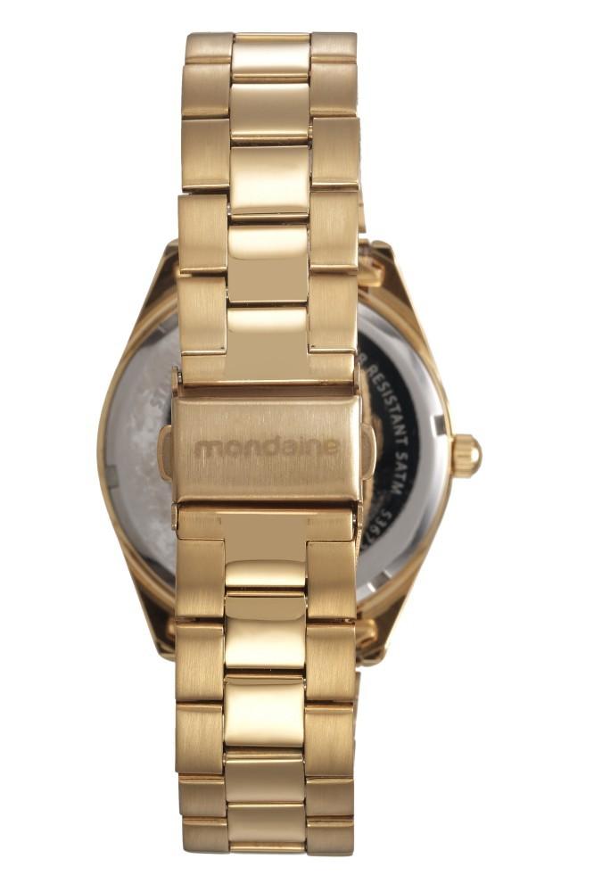 Relógio Feminino Mondaine Pulseira de Aço Inoxidável Dourado Fundo Champanhe 53672LPMVDE1