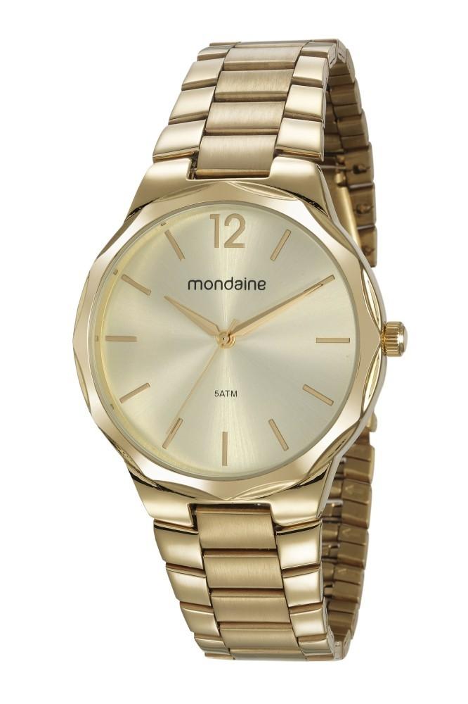 Relógio Feminino Mondaine Pulseira de Aço Inoxidável Dourado Fundo Champanhe 53750LPMVDE1