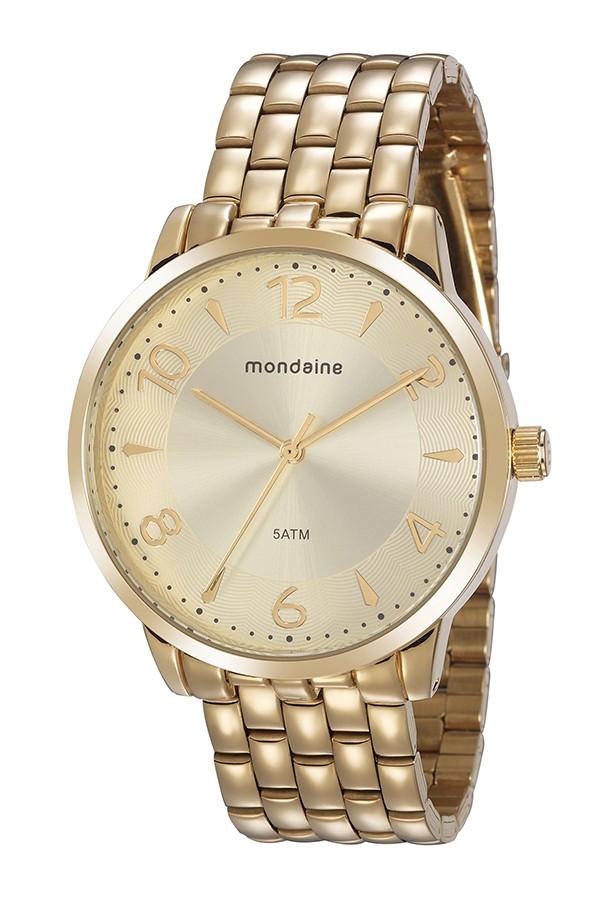 Relógio Feminino Mondaine Pulseira de Aço Inoxidável Dourado Fundo Champanhe 76740LPMVDE2