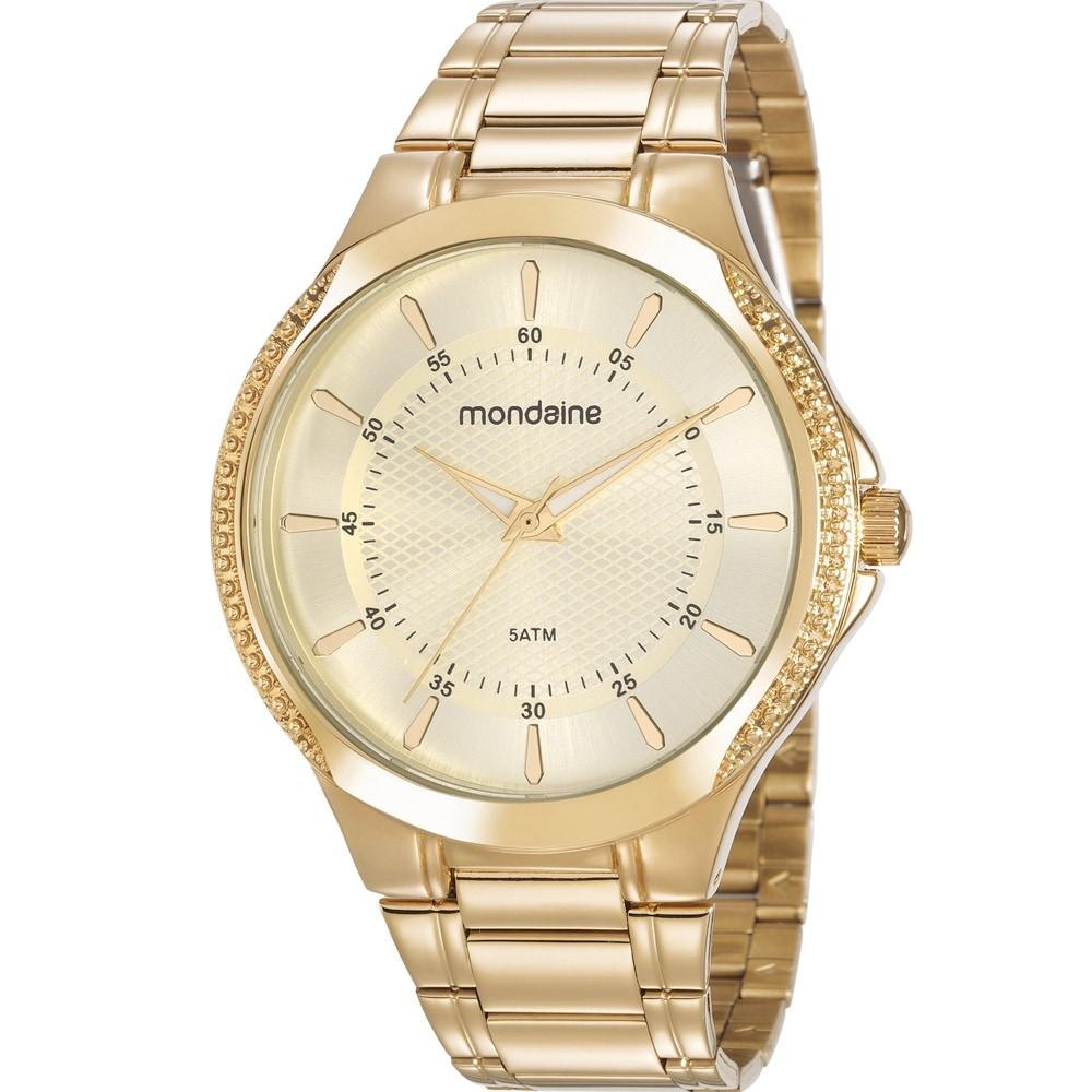Relógio Feminino Mondaine Pulseira de Aço Inoxidável Dourado Fundo Champanhe 99398LPMVDE1