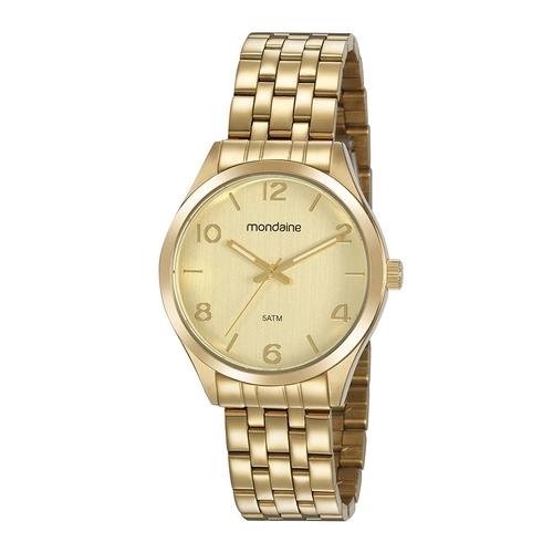 Relógio Feminino Mondaine Pulseira de Aço Inoxidável Dourado Fundo Champanhe