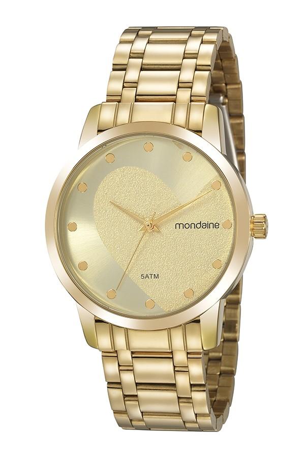Relógio Feminino Mondaine Pulseira de Aço Inoxidável Dourado Fundo Champanhe 99486LPMKDE2