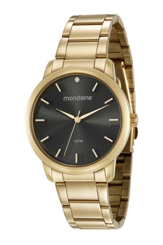 Relógio Feminino Mondaine Pulseira de Aço Inoxidável Dourado Fundo Cinza