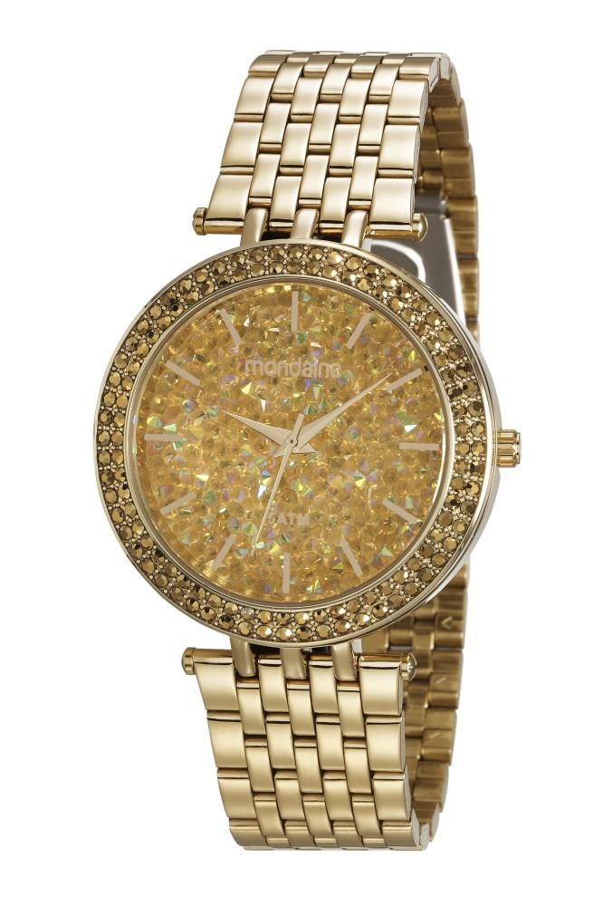 Relógio Feminino Mondaine Pulseira de Aço Inoxidável Dourado Fundo Dourado