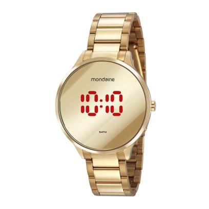 Relógio Feminino Mondaine Pulseira de Aço Inoxidável Dourado Fundo Led