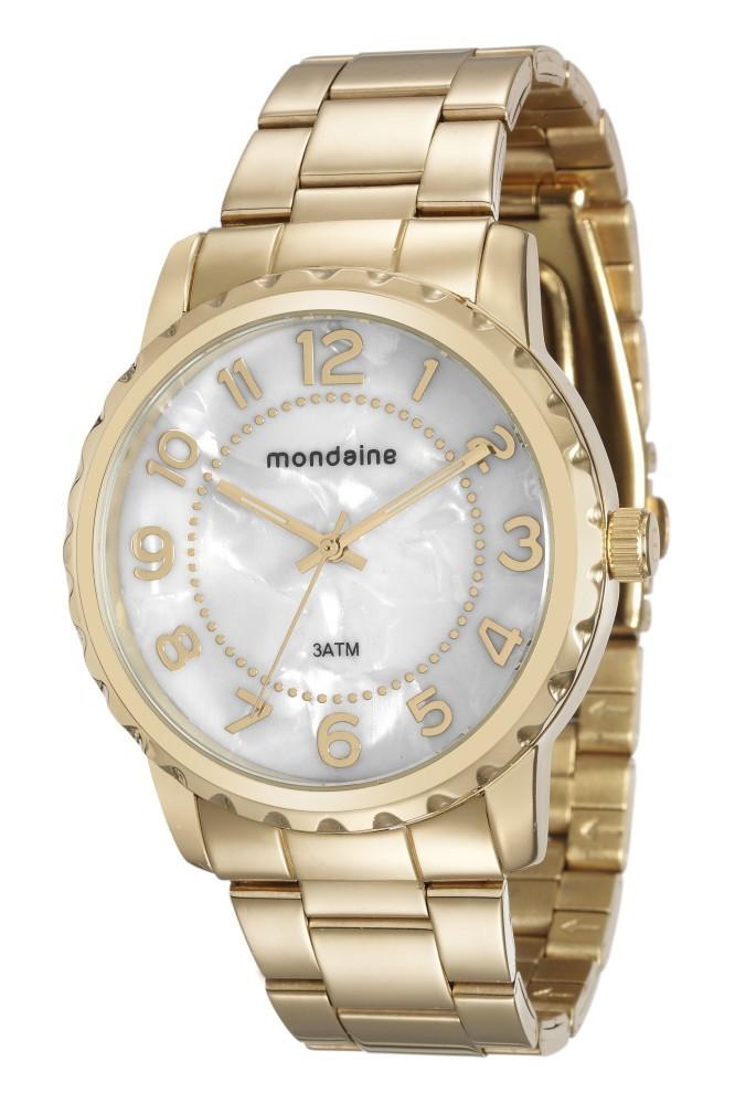 Relógio Feminino Mondaine Pulseira de Aço Inoxidável Dourado Fundo Madreperola 76653LPMVDE1