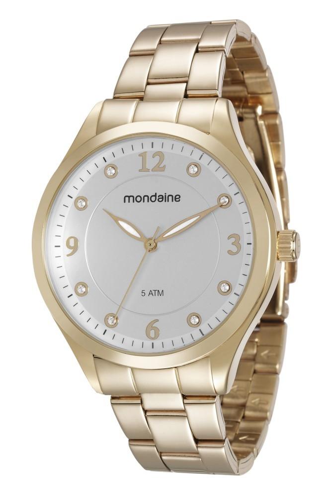 Relógio Feminino Mondaine Pulseira de Aço Inoxidável Dourado Fundo Prata 76587LPMVDE1