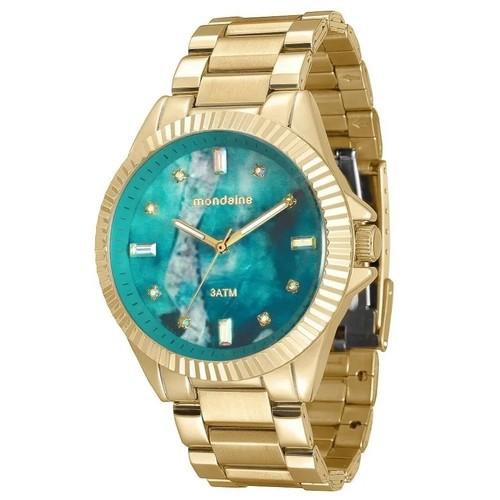 Relógio Feminino Mondaine Pulseira de Aço Inoxidável Dourado Fundo Prata 76642LPMVDE3