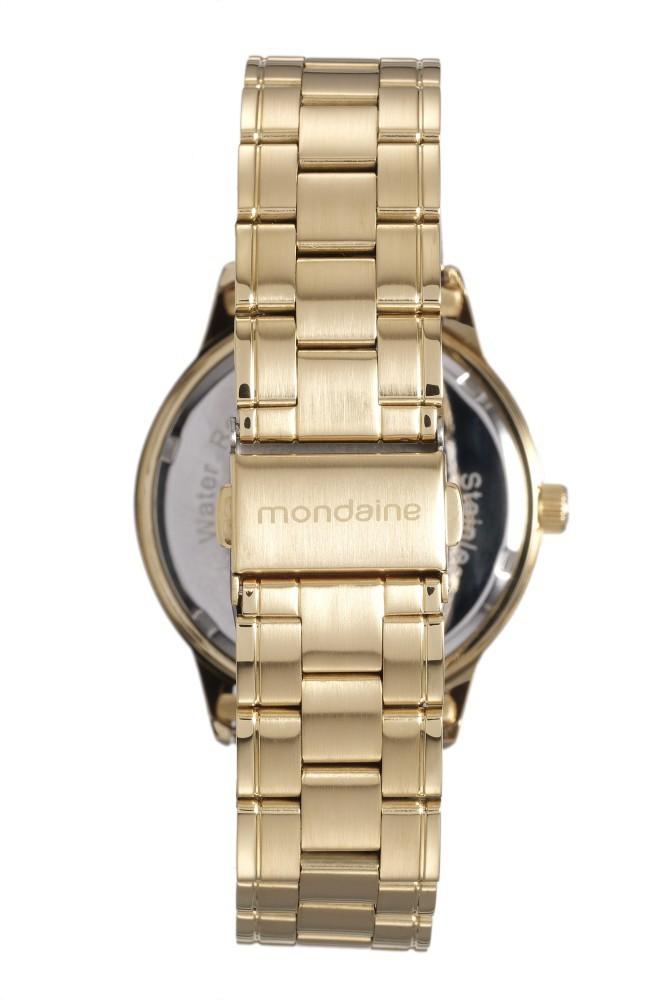Relógio Feminino Mondaine Pulseira de Aço Inoxidável Dourado Fundo Prata 83341LPMVDE1