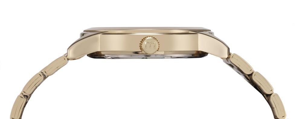 Relógio Feminino Mondaine Pulseira de Aço Inoxidável Dourado Fundo Prata
