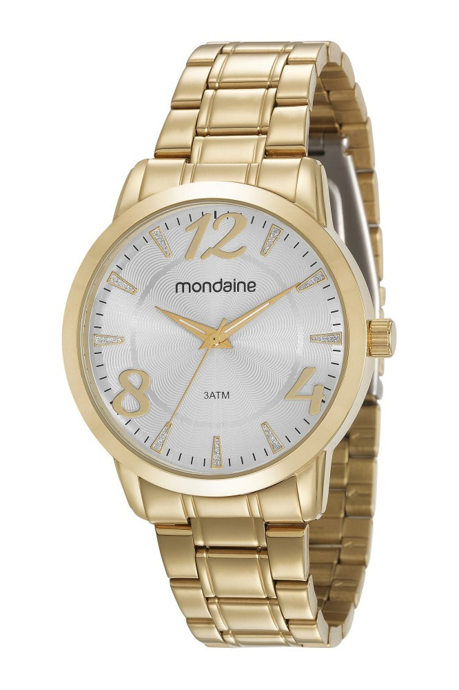 Relógio Feminino Mondaine Pulseira de Aço Inoxidável Dourado Fundo Prata 83366LPMVDE1