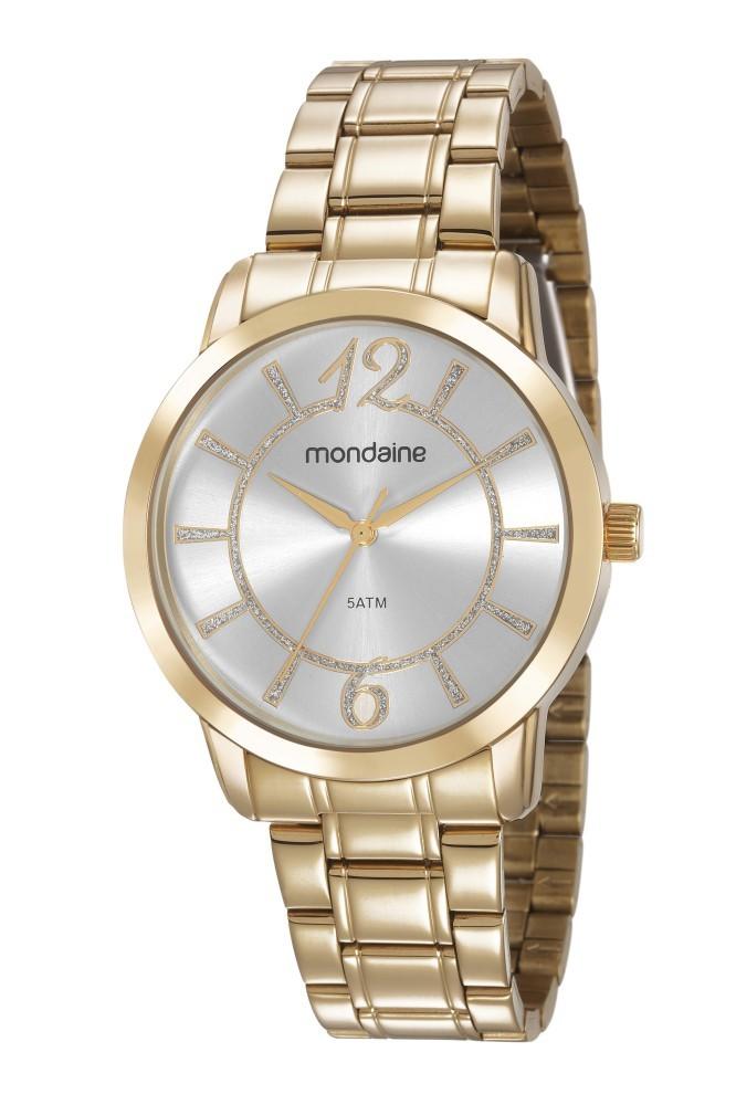 Relógio Feminino Mondaine Pulseira de Aço Inoxidável Dourado Fundo Prata 83431LPMVDE1