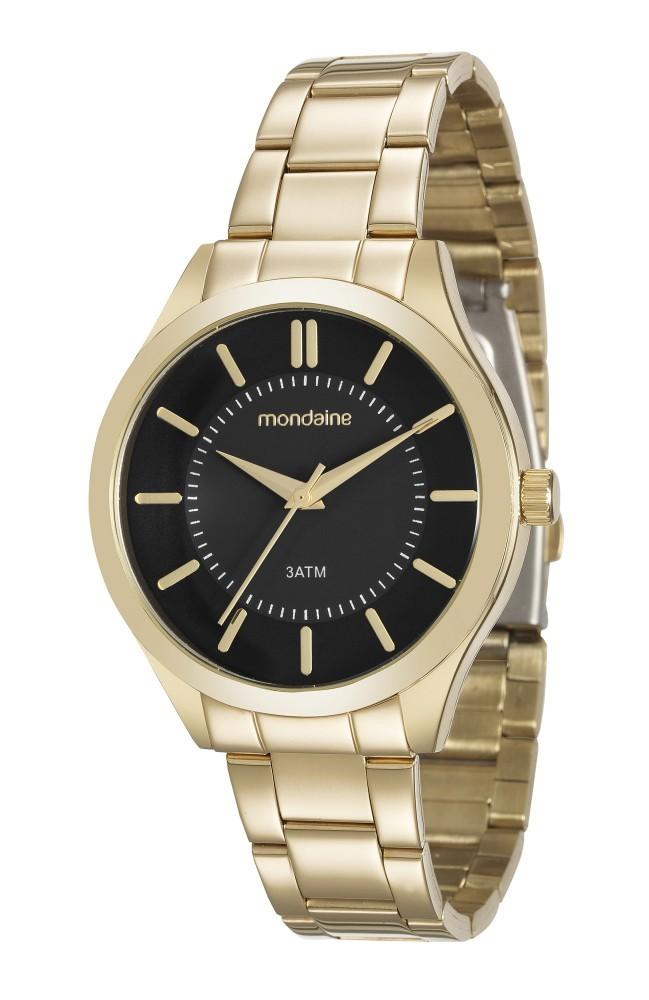 Relógio Feminino Mondaine Pulseira de Aço Inoxidável Dourado Fundo Preto 99231LPMVDE2