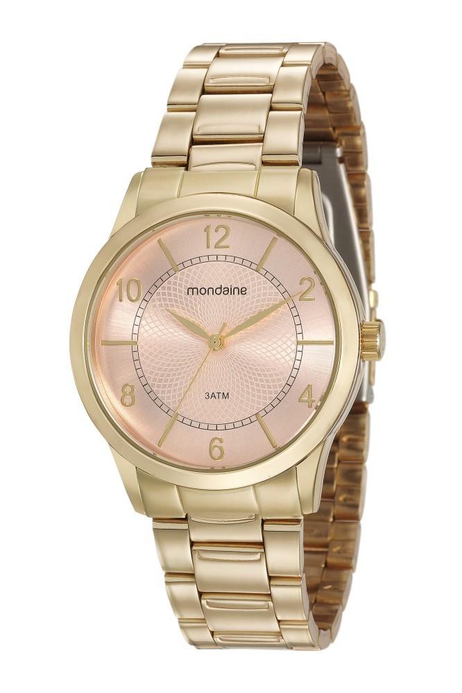 Relógio Feminino Mondaine Pulseira de Aço Inoxidável Dourado Fundo Rosa