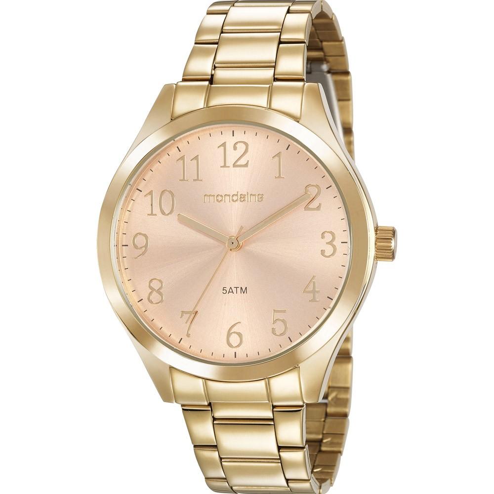 Relógio Feminino Mondaine Pulseira de Aço Inoxidável Dourado Fundo Rose Gold 99397LPMVDE2