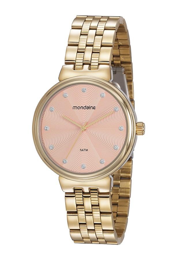Relógio Feminino Mondaine Pulseira de Aço Inoxidável Dourado Fundo Rose Gold