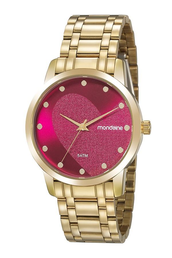Relógio Feminino Mondaine Pulseira de Aço Inoxidável Dourado Fundo Vermelho 99486LPMKDE1