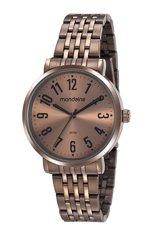 Relógio Feminino Mondaine Pulseira de Aço Inoxidável Marrom Fundo Marrom 32107LPMVME3