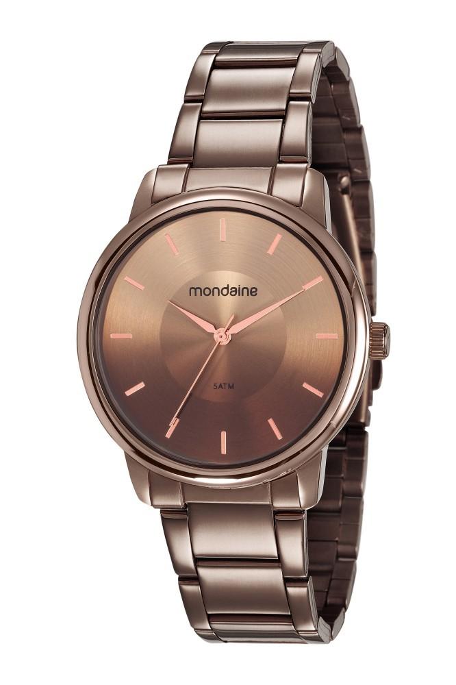 Relógio Feminino Mondaine Pulseira de Aço Inoxidável Marrom Fundo Marrom 53606LPMVME7