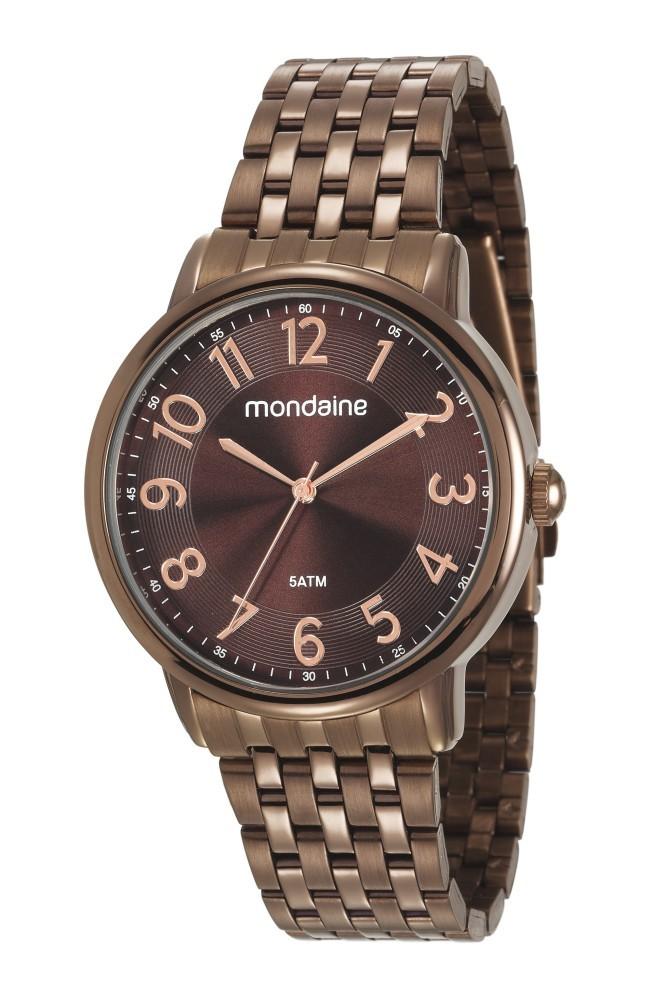 Relógio Feminino Mondaine Pulseira de Aço Inoxidável Marrom Fundo Marrom 53673LPMVME2