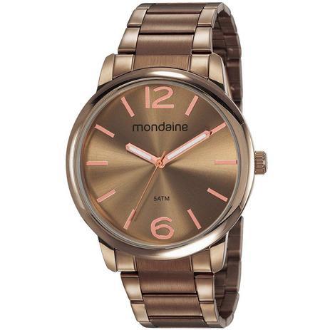 Relógio Feminino Mondaine Pulseira de Aço Inoxidável Marrom Fundo Marrom 53819LPMVME3