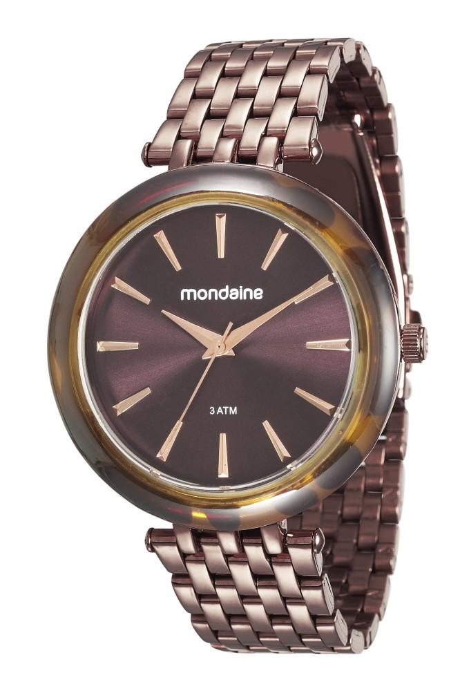 Relógio Feminino Mondaine Pulseira de Aço Inoxidável Marrom Fundo Marrom 76559LPMVME5