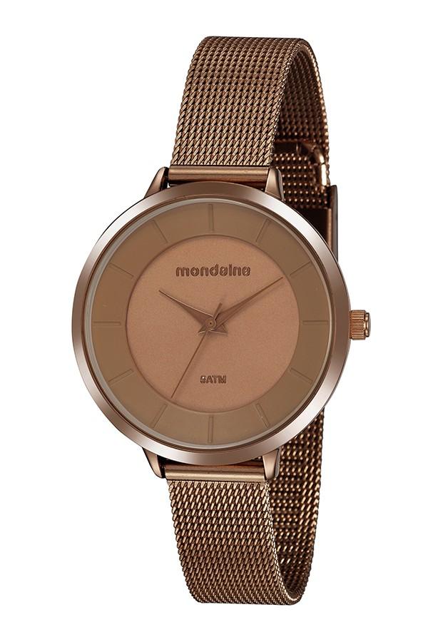 Relógio Feminino Mondaine Pulseira de Aço Inoxidável Marrom Fundo Marrom