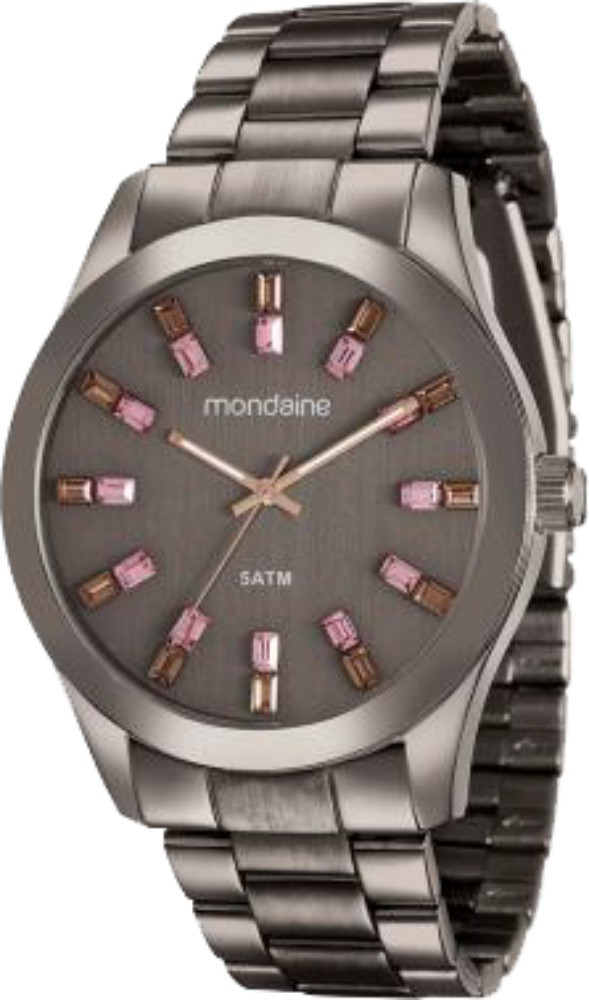 Relógio Feminino Mondaine Pulseira de Aço Inoxidável Marrom Fundo Marrom 78663LPMVMA6
