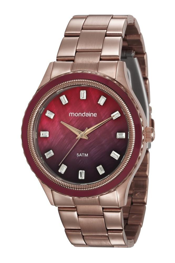 Relógio Feminino Mondaine Pulseira de Aço Inoxidável Marrom Fundo Marrom 78747LPMVMS4