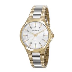 Relógio Feminino Mondaine Pulseira de Aço Inoxidável Prata & Dourado Fundo Prata 99398LPMVBE2