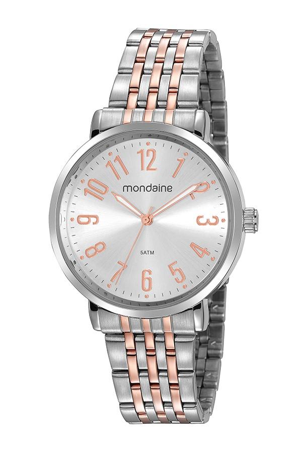 Relógio Feminino Mondaine Pulseira de Aço Inoxidável Prata & Rose Fundo Prata