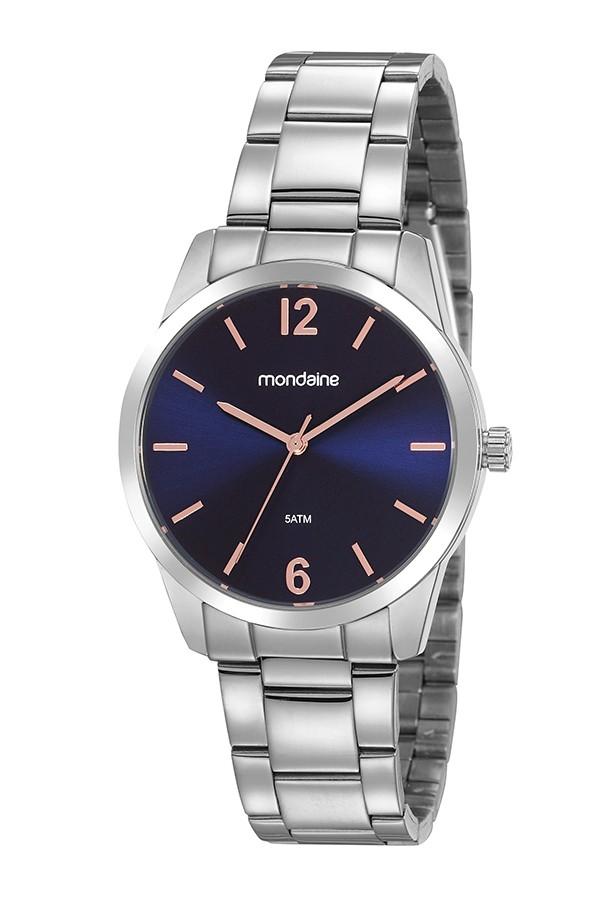 Relógio Feminino Mondaine Pulseira de Aço Inoxidável Prata Fundo Azul