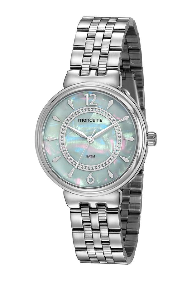 Relógio Feminino Mondaine Pulseira de Aço Inoxidável Prata Fundo Azul 99461L0MVNE3