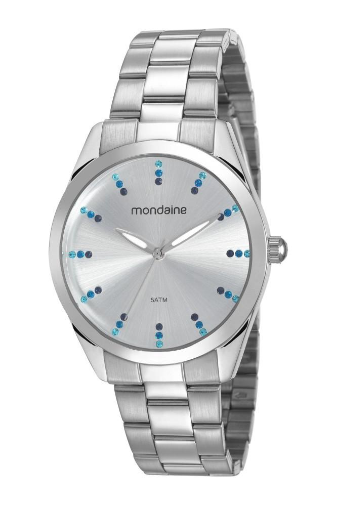 Relógio Feminino Mondaine Pulseira de Aço Inoxidável Prata Fundo Branco 53672L0MVNE3