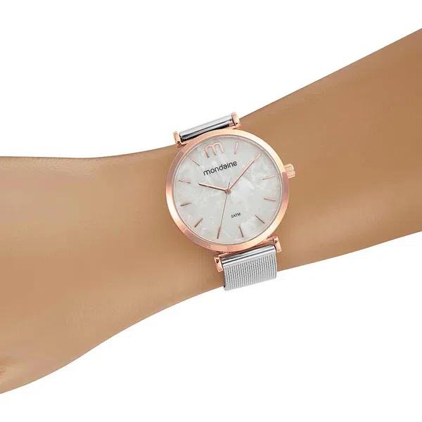 Relógio Feminino Mondaine Pulseira de Aço Inoxidável Prata Fundo Madrepérola 53780LPMVGE2