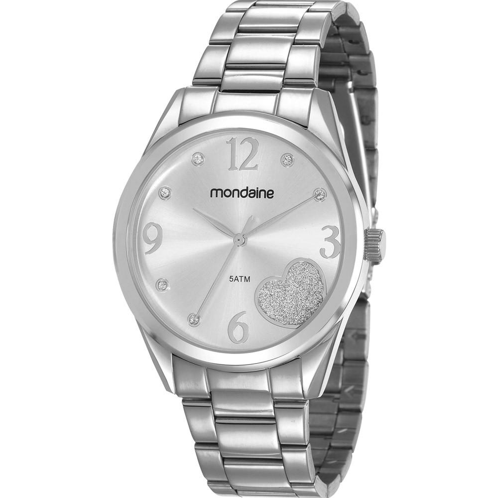 Relógio Feminino Mondaine Pulseira de Aço Inoxidável Prata Fundo Prata