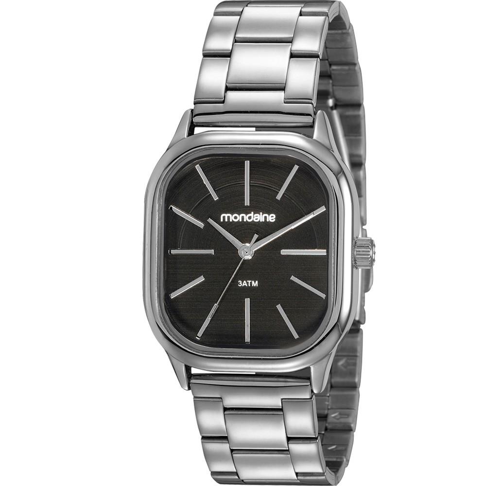 Relógio Feminino Mondaine Pulseira de Aço Inoxidável Prata Fundo Preto 83481L0MVNE2