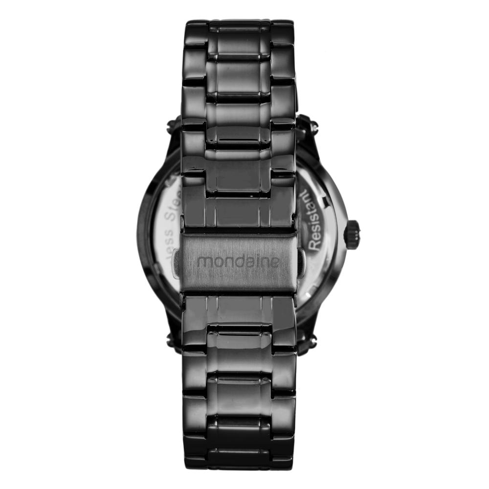 Relógio Feminino Mondaine Pulseira de Aço Inoxidável Preto Fundo Azul